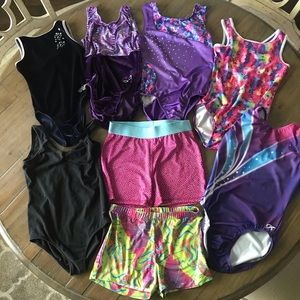 Bundle of girls gymnastics 10/12 & M/L leotards